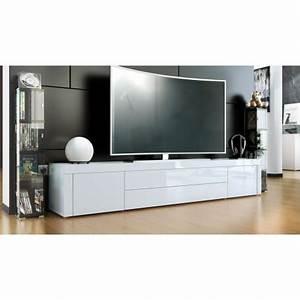 Meuble TV Design Laqu Blanc 200 Cm TOPAZE Cbc Meubles