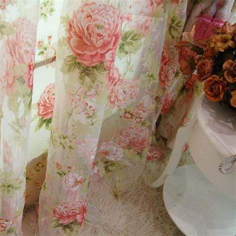 2 x custom made country cottage floral sheer
