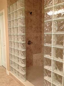 Glass block shower wall Dublin Ohio - Mediterranean