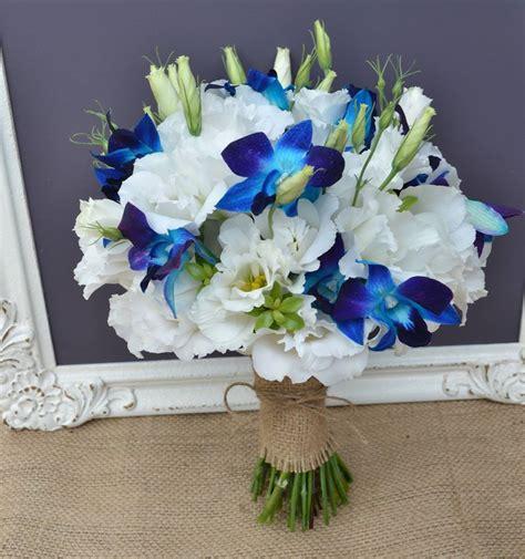 simple bouquet  white lissianthus  blue galaxy