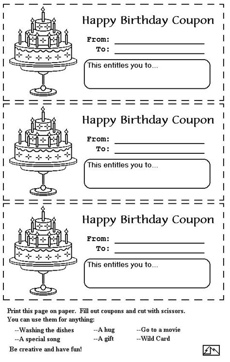 birthday coupons birthday coupons mom birthday gift