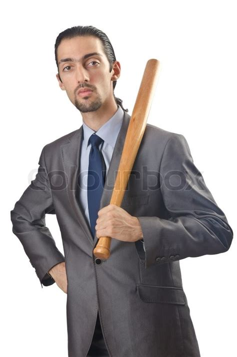 12256 angry businessman stock photo angry businessman with bat on white stock photo colourbox