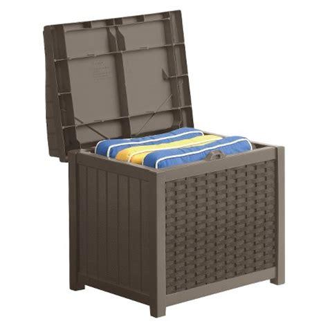Sams Club Wicker Deck Box by Resin Wicker Storage Seat Brown Suncast Target