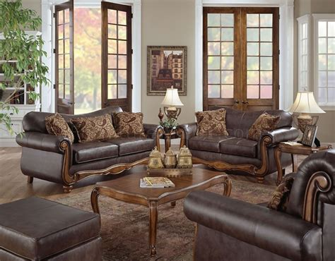 Style Sofa Sets by Brown Bonded Leather Traditional Style Sofa Loveseat Set