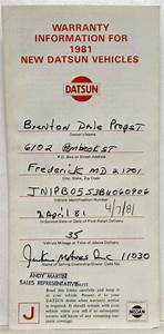 1981 Datsun 210 Series Owners Manual And Warranty Information