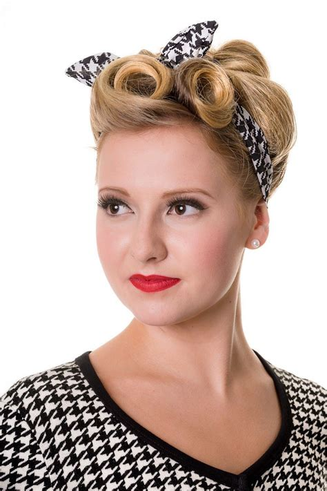 60s Headband Hairstyles by Retro 60 S Pinup Plaid And Houndstooth Pattern Elastic