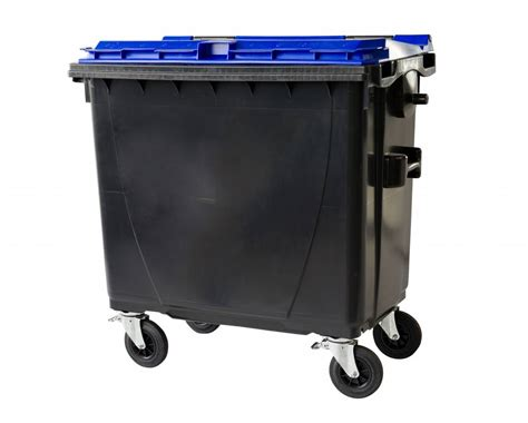 Waste and recycling containers with flat lid • 4 wheels ...