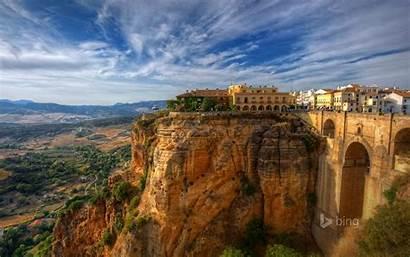 Ronda Spain Malaga Bridge Landscape Sky Rock