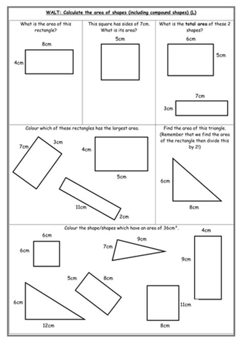 area differentiated worksheets by indiarose26 teaching