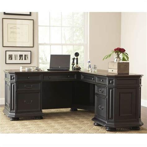 Black Computer Desk L Shaped by Riverside Furniture Allegro L Shaped Computer Desk In
