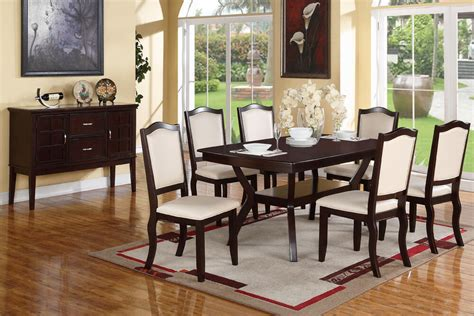 Modern Espresso 7 Pc Dining Set Table Chairs Chair Dining