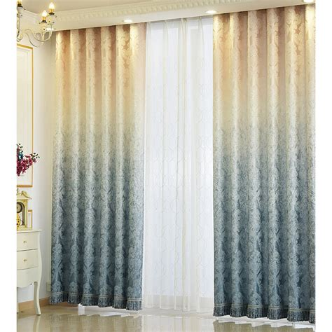 Blue Polyester and Cotton Patterned Country Ombre Curtains for Living Room