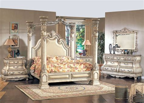 Traditional King White Leather Poster Canopy Bed Pc