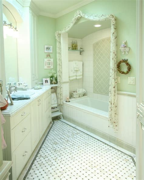 traditional green  white bathroom traditional