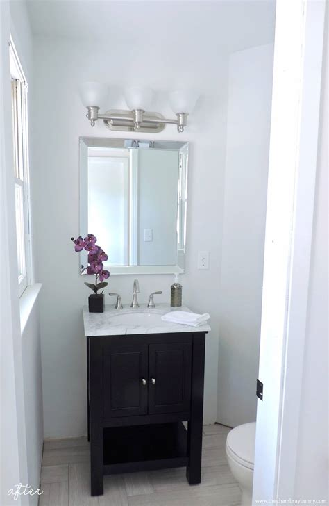 Half Bathroom Makeover Before & After • The Chambray Bunny