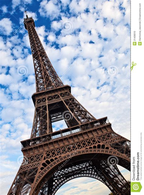 eiffel tower tilted view stock photo image