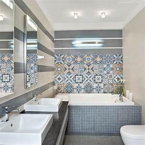 Stickers Carreaux De Ciment : 24 stickers carreaux de ciment azulejos albano cuisine ~ Melissatoandfro.com Idées de Décoration