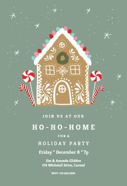ho ho home christmas invitation template