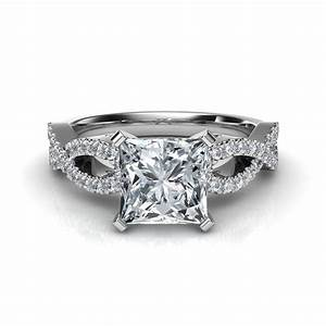 Infinity design princess cut diamond engagement ring for Infinity design wedding ring