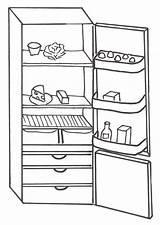Refrigerator Coloring Frigorifero Disegni Di Template Casa sketch template