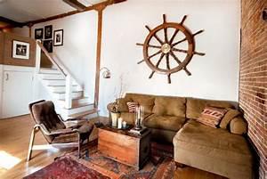 Nautical Decor Ideas Enhanced by Vintage Ship Wheels and ...
