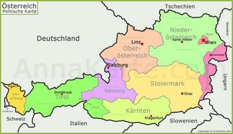 oesterreich politische landkarte annakartecom