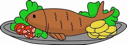 Fish Clipart Fried Drawing Cartoon Cooked Cook