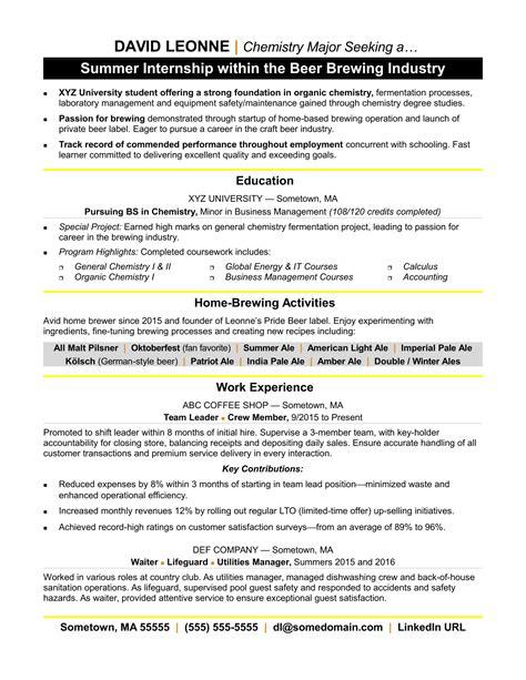 internship resume sle