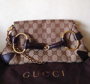 auth gucci horsebit tom ford clutch bag monogram gg brown