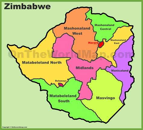 administrative divisions map  zimbabwe