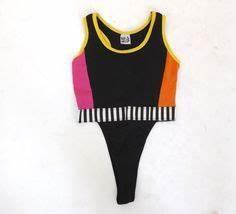Vintage 1980s 90s Thong Bodysuit Leotard Neon Graphic