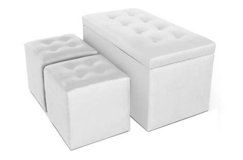 banquette coffre et 2 poufs simili cuir blanc ath 232 nes