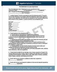 pet addendum to a lease agreement legal templates With companion animal letter for apartment