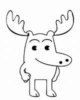 Moose Coloring Pages Printable Cartoon Christmas Getcoloringpages Easy sketch template