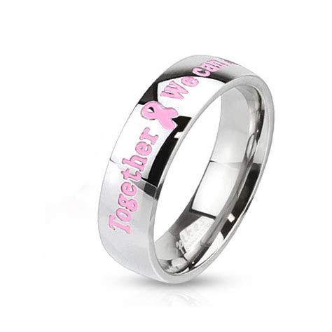 "Stainless Steel Pink Breast Cancer Band Ring "" Together We. Neil Lane Engagement Rings. Toggle Bracelet. Black Diamond Ring. Moonstone Rings. Silver Charm Bangle. Rose Gold Bands. Link Bracelet. Ring Bands"