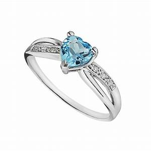 9ct White Gold Heart Shaped Blue Topaz And Diamond Ring