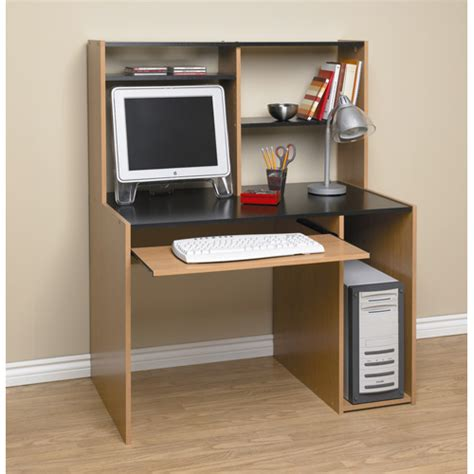 Orion Computer Desk With Hutch Black And Oak