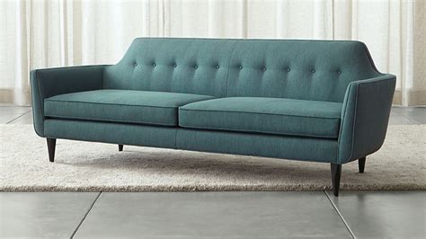 crate and barrel settee modern blue tufted sofa crate and barrel