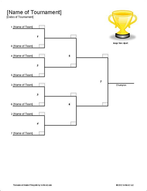 Tournament Bracket Template The Single Elimination Bracket Template From