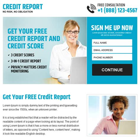 purchase credit report free credit report sign up lead capture ppv landing page