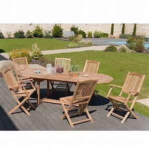 Salon De Jardin En Teck : salon de jardin en teck sumbara 8 1 table ovale extensible 4 chaises et 2 fauteuils ~ Teatrodelosmanantiales.com Idées de Décoration
