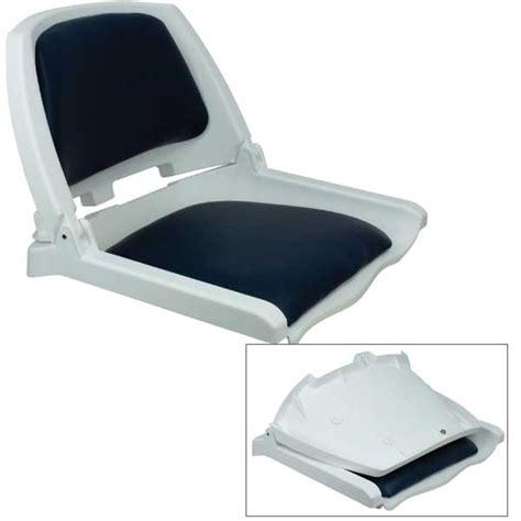 springfield traveler folding seat white with blue cushion