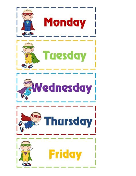 6 best images of days of the week printables for