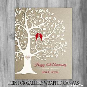 40th anniversary gift golden anniversary print gift With tree as wedding gift