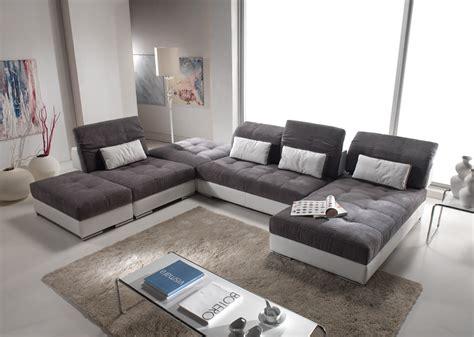 tissus canapé canapé d 39 angle modulable en cuir et tissus modèle edition