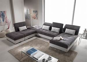 canape d39angle modulable en cuir et tissus modele edition With tapis oriental avec canape angle cuir et tissu