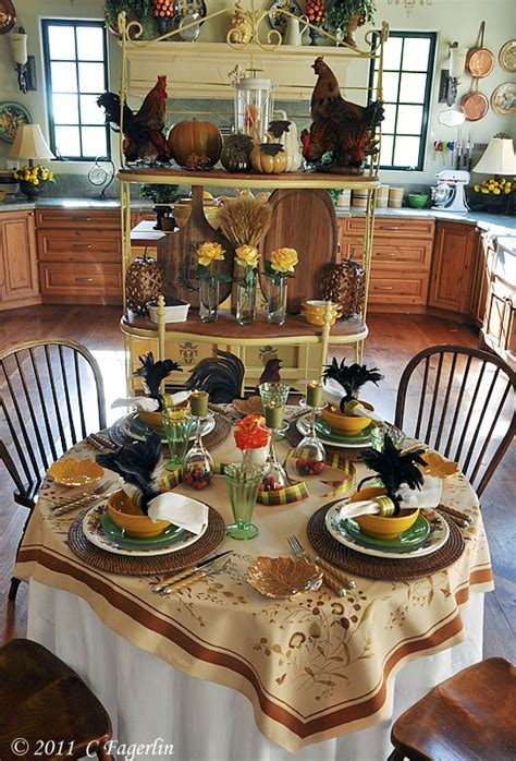 fall tablescape vintage linens