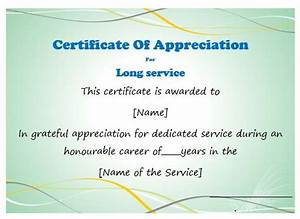 long service certificate template sample - 50 professional free certificate of appreciation