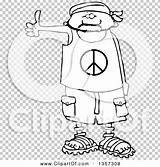 Bandana Wearing Cartoon Shorts Peace Clipart Clip Hitchhiker Sandals Male sketch template