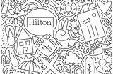 Coloring Pages Travel Hilton Doodle Center Brand Newsroom sketch template